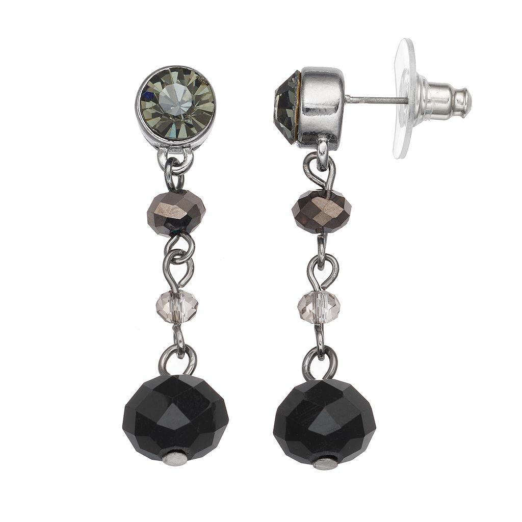 Simply Vera Vera Wang Nickel Free Black Beaded Linear Drop Earrings