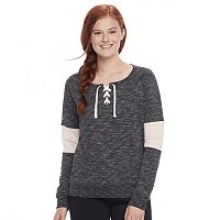 Juniors' Plus Size SO® Colorblock Lace-Up Hooded Sweatshirt