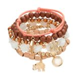Elephant & Leaf Charm Wooden Bead Stretch Bracelet Set
