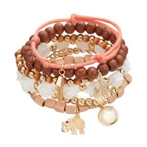 Elephant & Leaf Charm Wooden Bead Stretch Bracelet Set
