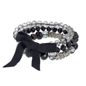 Simply Vera Vera Wang Black Beaded Multi Strand Stretch Bracelet