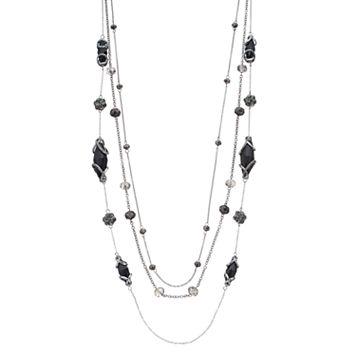 Simply Vera Vera Wang Long Black Beaded Multi Strand Necklace