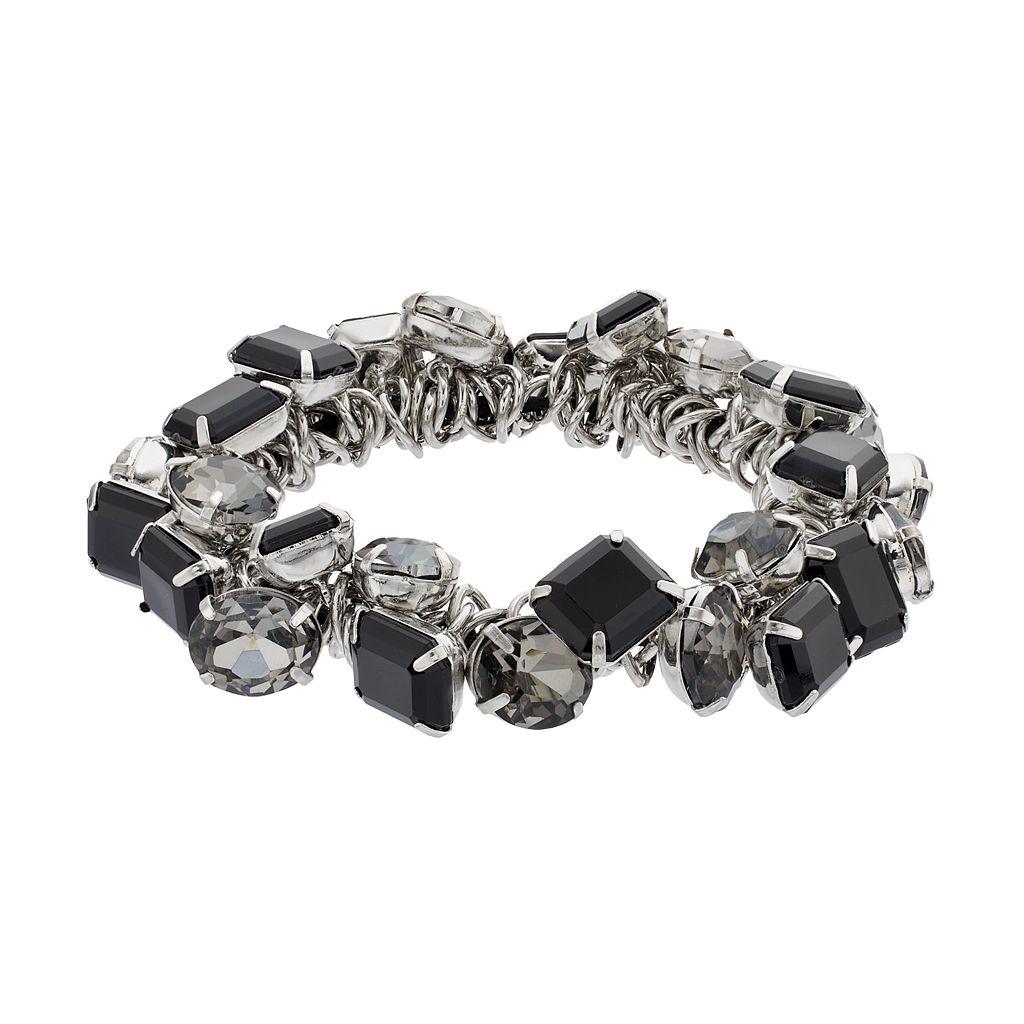 Simply Vera Vera Wang Shaky Black Stone Stretch Bracelet