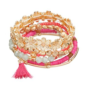 Pink Flower, Tassel & Disc Bead Stretch Bracelet Set
