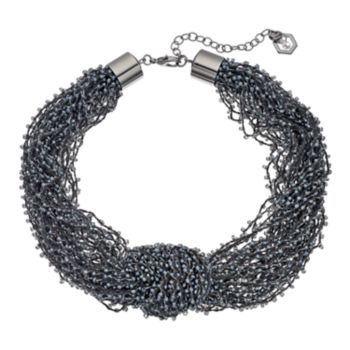 Simply Vera Vera Wang Black Seed Bead Knotted Chunky Necklace