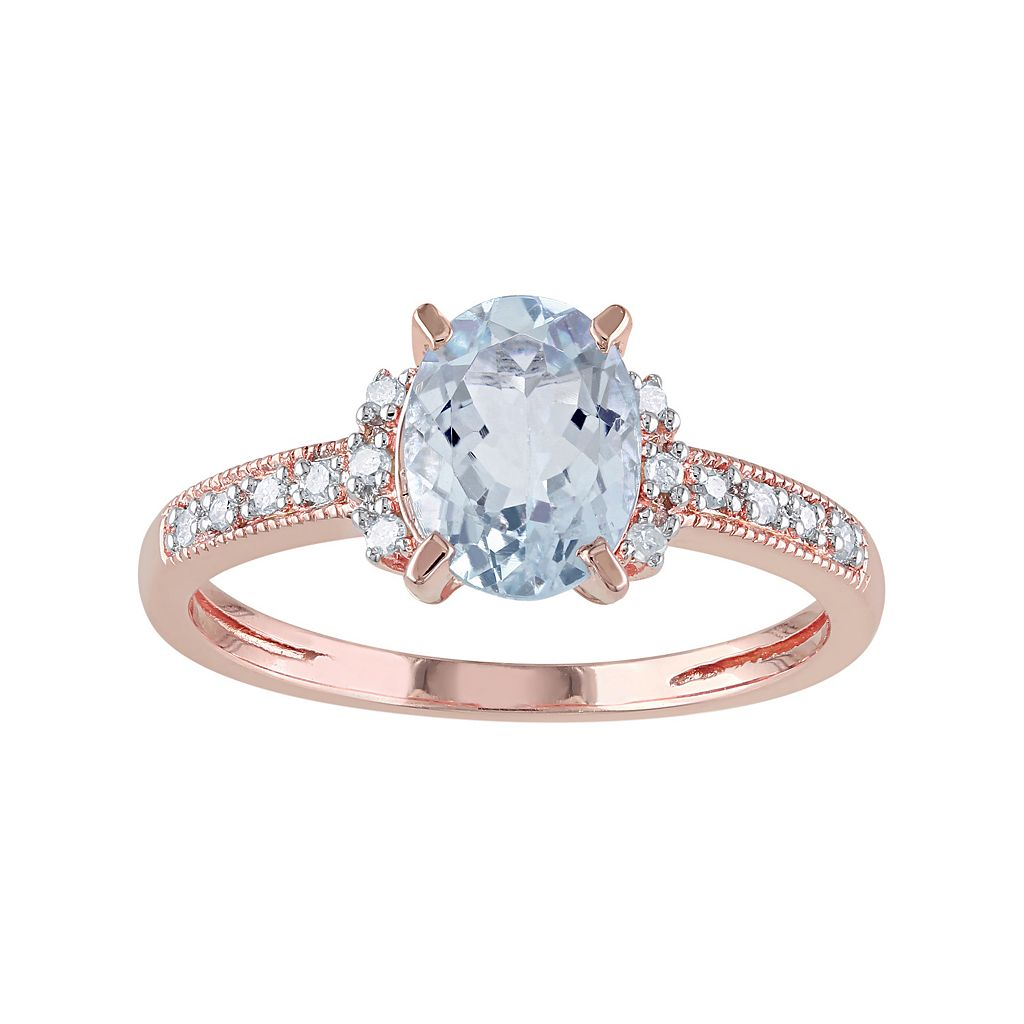 Sterling Silver Aquamarine & Diamond Accent Ring