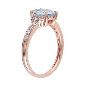 Sterling Silver Aquamarine & Diamond Accent Ring