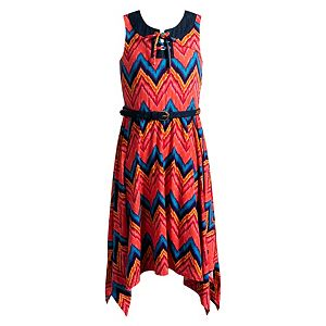 Girls 7-16 Emily West Lace-Up Front Handkerchief Hem Knit Dress