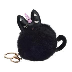 Black Cat Pom Pom Key Chain