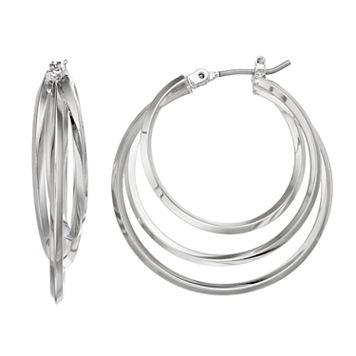 Simply Vera Vera Wang Tiered Nickel Free Triple Hoop Earrings