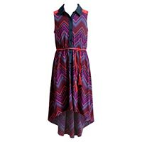 Girls 7-16 Emily West Button-Front Printed High-Low Dress with Braided Belt