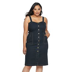 Plus Size Jennifer Lopez Button-Down Jean Dress