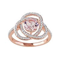 Sterling Silver Morganite & 1/10 Carat T.W. Diamond Swirl Ring