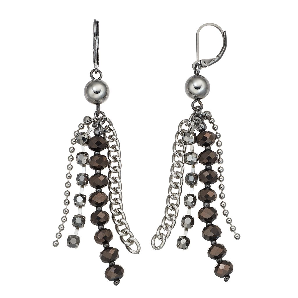 Simply Vera Vera Wang Two Tone Beaded Chain Fringe Drop Earrings