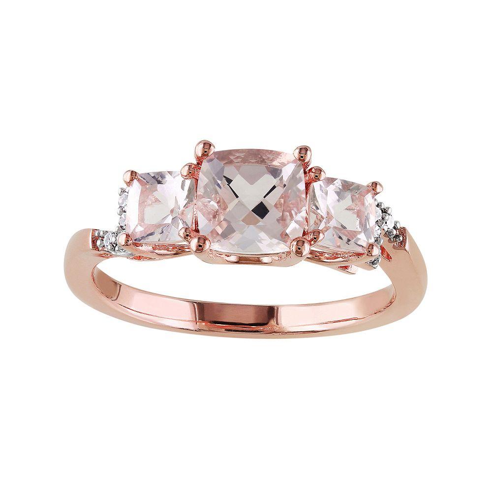 Stella Grace Sterling Silver Morganite & Diamond Accent 3-Stone Ring