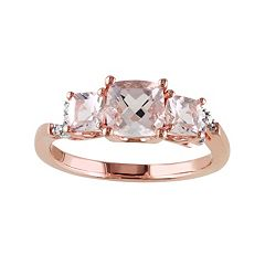 Sterling Silver Morganite & Diamond Accent 3-Stone Ring