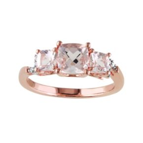 Sterling Silver Morganite & Diamond Accent 3-Stone Ring