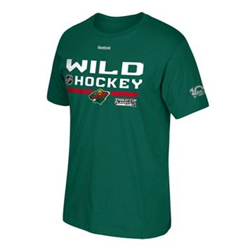 Men's Reebok Minnesota Wild 2017 Stanley Cup Playoffs Center Ice Tee