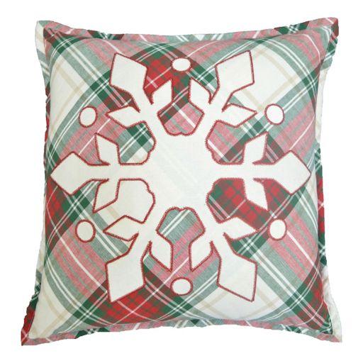 St. Nicholas Square® Plaid Snowflake Throw Pillow