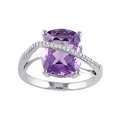 Stella Grace Sterling Silver Amethyst & 1/10 Carat T.W. Diamond Twist Ring