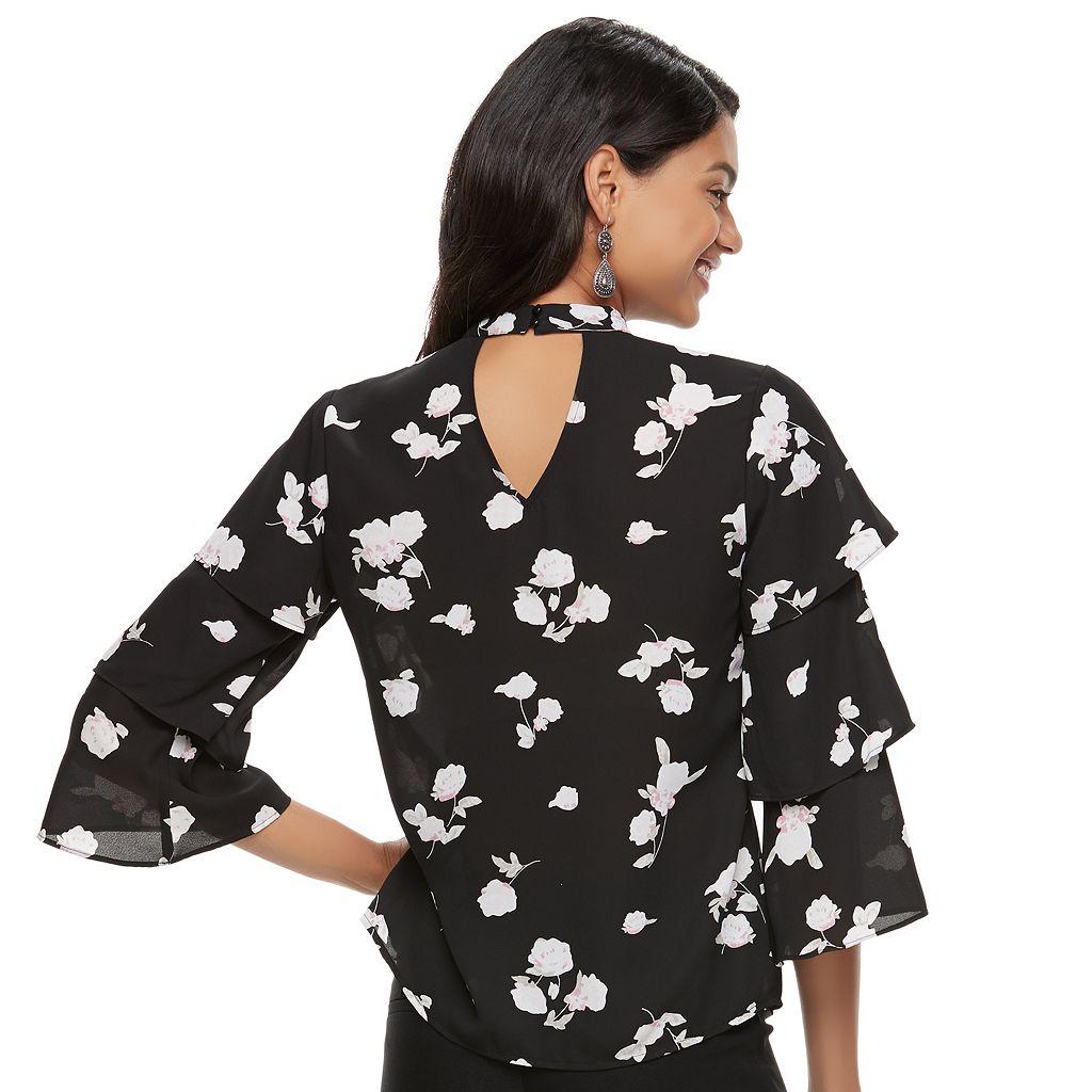 Juniors' Candie's® Print Choker Ruffle-Sleeve Top