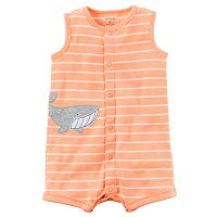 Baby Boy Carter's Striped Embroidered Applique Romper