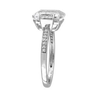 Sterling Silver White Topaz & 1/10 Carat T.W. Diamond Ring
