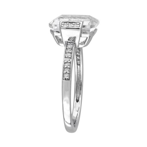 Sterling Silver White Topaz & 1/10 Carat T.W. Diamond Ring