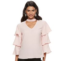 Juniors' Candie's® Choker Neck Ruffle Top