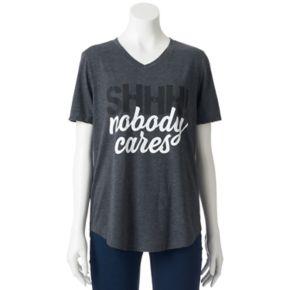 """Juniors' Awake """"Shhh Nobody Cares"""" V-Neck Graphic Tee"""