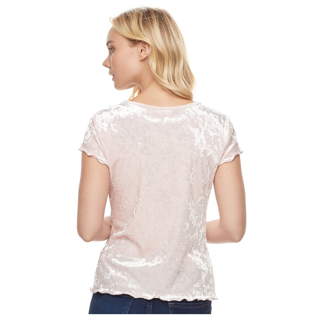 Juniors' Candie's® Velvet Snap Front Top