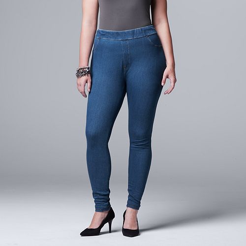 7dc9be008bf Plus Size Simply Vera Vera Wang Denim Leggings
