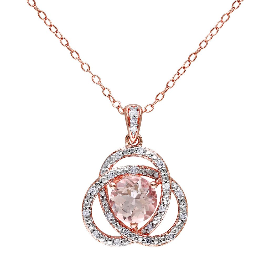 Sterling Silver Morganite & 1/10 Carat T.W. Diamond Swirl Pendant