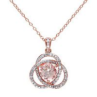 Sterling Silver Morganite & 1/10 Carat T.W. Diamond Swirl Pendant