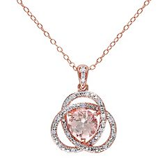 Stella Grace Sterling Silver Morganite & 1/10 Carat T.W. Diamond Swirl Pendant