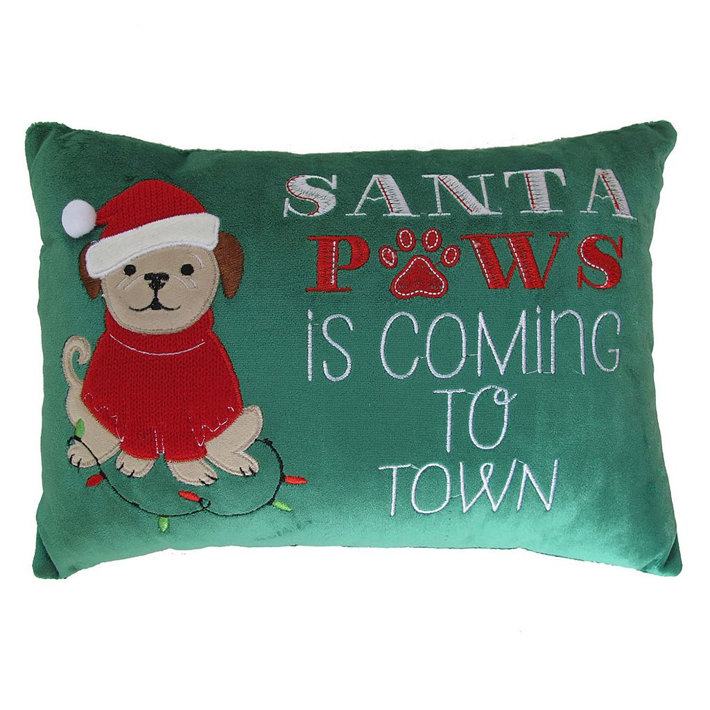 St. Nicholas Square® ''Santa Paws'' Small Oblong Throw Pillow