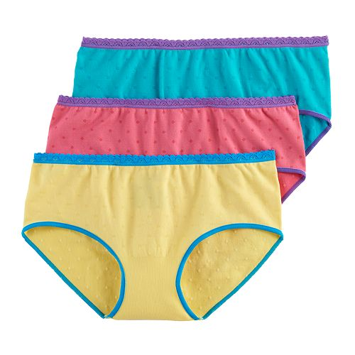 Girls 7-16 Hanes 3-pk. Multi-Colored Hipster Panties