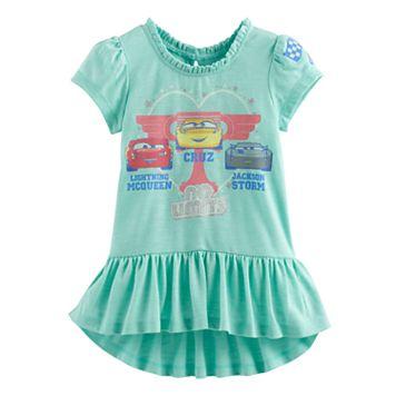 Disney / Pixar Cars 3 Lightning McQueen, Jackson Storm & Cruz Ramirez Toddler Girl Ruffle-Hem Tee