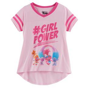 "Girls 7-16 DreamWorks Trolls Poppy, DJ Suki, Satin & Chenille ""#Girlpower"" High-Low Tee"