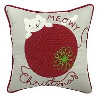 St. Nicholas Square® ''Meowy Christmas'' Small Throw Pillow