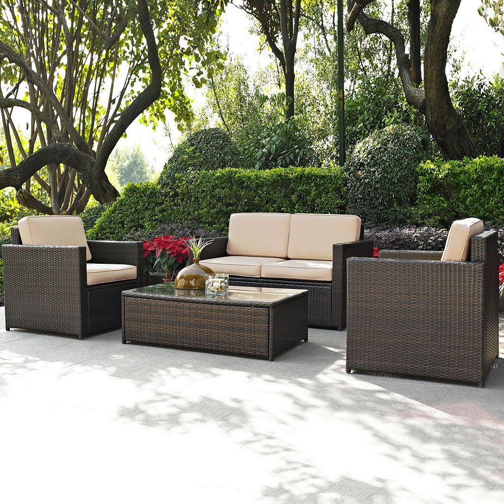 Crosley Furniture Palm Harbor Patio Loveseat, Arm Chair & Coffee Table 4-piece Set