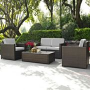 Crosley Furniture Palm Harbor Patio Loveseat, Arm Chair & Coffee Table 4 pc Set