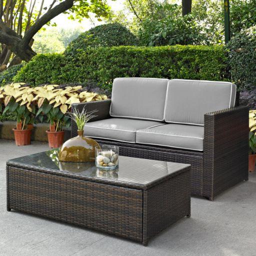 Crosley Furniture Palm Harbor Patio Loveseat & Coffee Table 2-piece Set