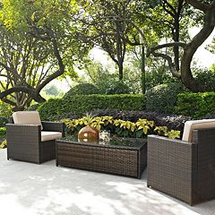 Crosley Furniture Palm Harbor Patio Arm Chair & Coffee Table 3 pc Set