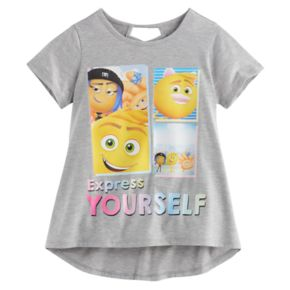 "Girls 7-16 The Emoji Movie Gene, Hi-5 & Jailbreak ""Express Yourself"" High-Low Tee"