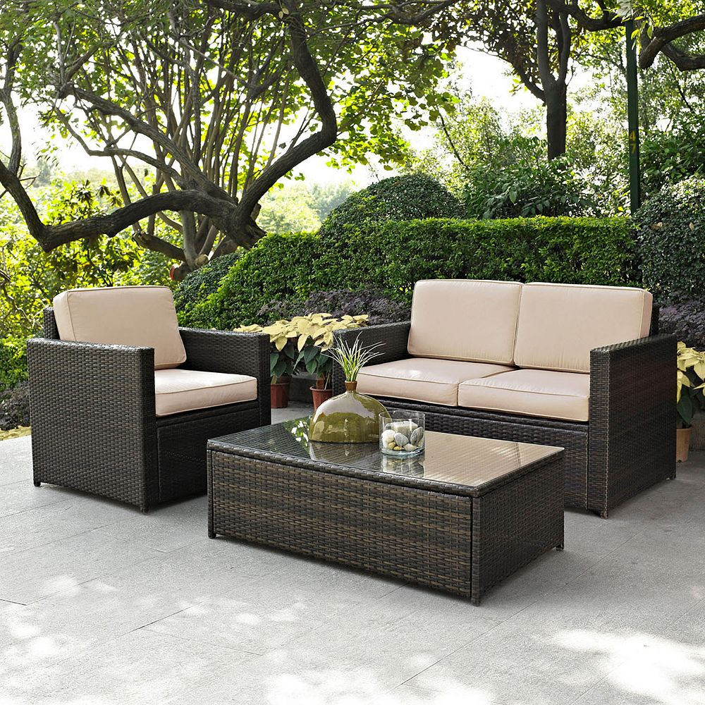 Crosley Furniture Palm Harbor Patio Loveseat, Arm Chair & Coffee Table  3-piece Set - Furniture Palm Harbor Patio Loveseat, Arm Chair & Coffee Table 3