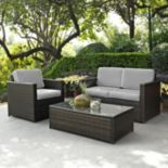 Crosley Furniture Palm Harbor Patio Loveseat, Arm Chair & Coffee Table 3 pc Set
