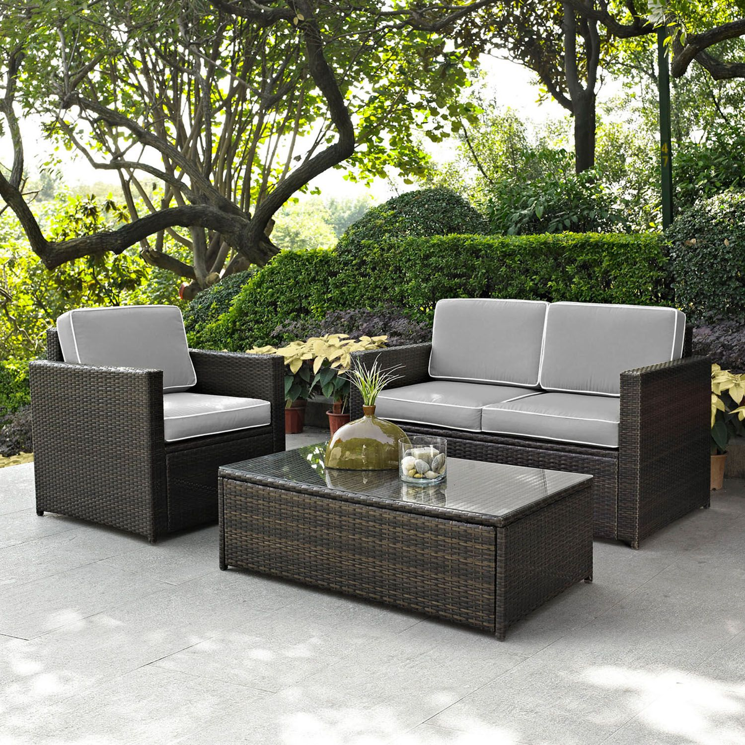 Merveilleux Crosley Furniture Palm Harbor Patio Loveseat, Arm Chair U0026 Coffee Table  3 Piece Set