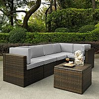 Crosley Furniture Palm Harbor Patio Sectional Chair & Coffee Table 6 pc Set