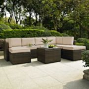 Crosley Furniture Palm Harbor Patio Sectional Chair, Ottoman & Coffee Table 8-piece Set